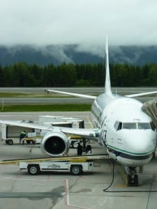 An Alaska Airlines jet waits for boarding at the Juneau Airport last September. Monday's Alaska Flight 69 from Seattle was stuck at Ketchikan's airport for about an hour due to the computer outage. File photo.