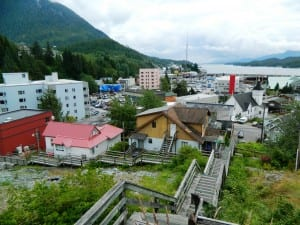 A view of downtown Ketchikan from the top of a long flight of boardwalk steps. (KRBD file photo)