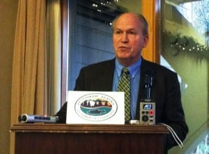 Bill Walker speaks during a December Ketchikan Chamber of Commerce luncheon.