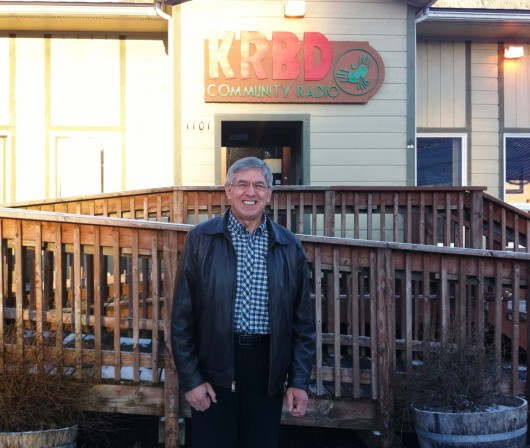 Byron Mallott poses at KRBD-FM in Ketchikan during a campaign visit. The candidate for governor says he will leave Sealaskas board of directors next month.