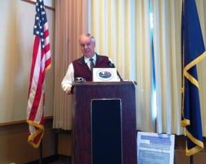 Ketchikan School District Superintendent Robert Boyle speaks Wednesday during the regular Chamber of Commerce lunch.