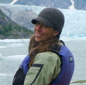 Outgoing SEACC Executive Director Malena Marvin poses while kayaking in Juneau's Mendenhall Lake. (Photo courtesy SEACC)