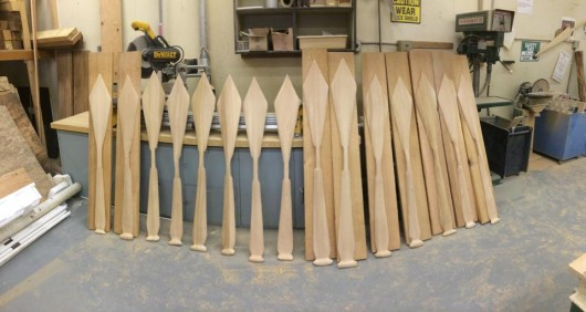 Canoe paddles carved by One People Canoe Society at a recent workshop in Angoon.