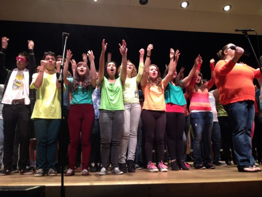 All of the students sang together in one of the final performances.