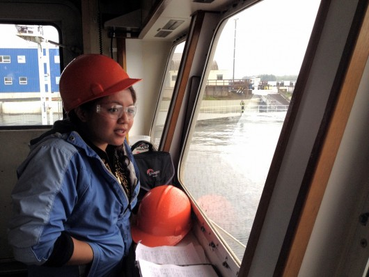 Kaila Del Rosario, 17, is one of three high school students participating in a new job training program at Vigor shipyard.