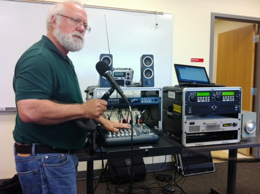 Rich Parker demonstrates how to do a live broadcast from the new, portable emergency radio system.
