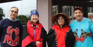 4 Shareholders for Sealaska slate members Ross Soboleff, Margaret Nelson, Karen Taug and Carlton Smith pose in their regalia. (Courtesy Lucy Nelson)