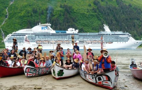 Canoe paddlers wait for permission to disembark at Juneau's Sandy Beach Wednesday afternoon. (Ed Schoenfeld/CoastAlaska)