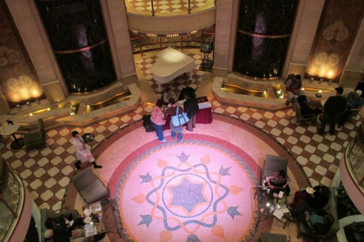 The ship's atrium, where performances are held and live music is played.