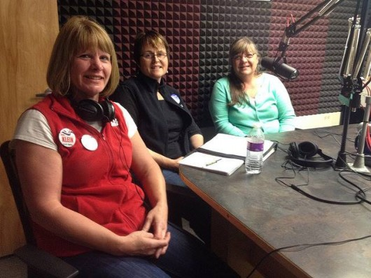 Chere Klein, Agnes Moran and Patti Mackey prepare to go live on air for a candidate forum on KRBD.
