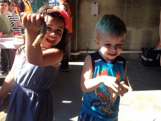 """Hunter Jones' (right) slug """"Jonsie"""" won the slug race. His friend Olivia (left) had a slug in the race too."""
