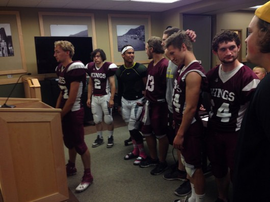 Members of the Kayhi football team made a case for their game against Seward to the School Board.