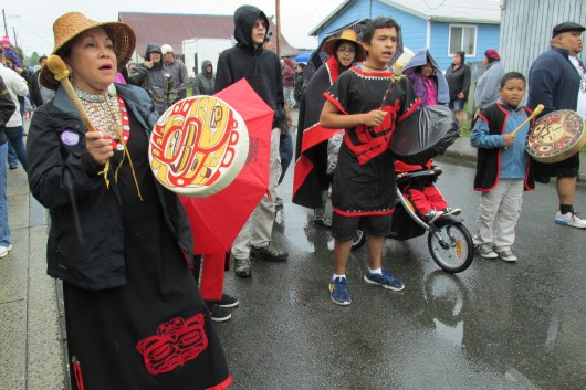 A group of Tsimshian dancers and singers in the parade.