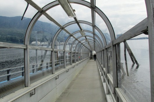 The covered ramp for walk-on airport ferry passengers. (Photo by Emily Files)