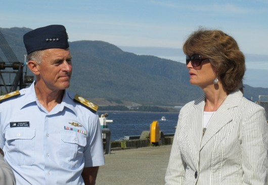 The newly appointed Commandant of the U.S. Coast Guard, Admiral Paul Zukunft, toured the Ketchikan base Wednesday with Sen. Lisa Murkowski. (Megan Petersen photo.)