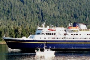 The ferry Taku sails into the Wrangell Narrows on its way south in 2013. It's part of an aging fleet needing repair or replacement. (Ed Schoenfeld/CoastAlaska News)
