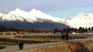 Dogs and their owners enjoy a snowless walk on a trail bordering Juneau's airport Dec. 29. Show has accumulated on nearby mountains. (Ed Schoenfeld, CoastAlaska News)