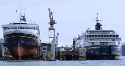 The ferries Malaspina and Columbia are out of service for repairs at the Ketchikan Shipyard in 2012. More ferries will be tied up this summer under planned legislative budget cuts. (Ed Schoenfeld/CoastAlaska News)
