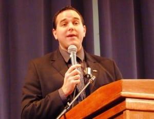 Prince Rupert Mayor Lee Brain addresses the Southeast Conference Tuesday in Juneau. (Ed Schoenfeld/CoastAlaska News)