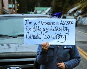 Residents of Hyder, Alaska, and Stewart, British Columbia, protest the nighttime closure of the border between the two towns April 1. (Courtesy Sylvia Alderton/The Terrace Standard)