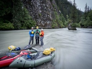 Rafters pose with their inflatable boats during a trip down the Unuk River. (Courtesy Ryan Peterson, Salmon Beyond Borders)
