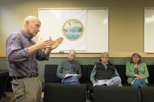 Rep. Dan Ortiz talks during a town-hall-style meeting Thursday at the White Cliff building.