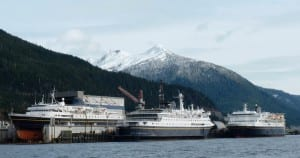 Three ferries docked at the Ketchikan Shipyard. (KRBD file photo)