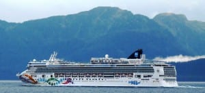 The cruise ship Norwegian Pearl sails south through Chatham Strait on its final voyage of 2013. The ship is one of six permitted to release treated blackwater into Alaska harbors this summer. (Ed Schoenfeld/CoastAlaska News)