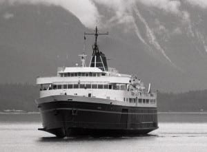The ferry Taku sails into Juneau's Auke Bay terminal. It's tied up for the year, affecting seafood processors who transport their fish via Prince Rupert, British Columbia. (Photo by LCGS Russ/Wikimedia Commons)