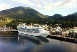 A cruise ship is docked at Ketchikan's downtown Berth 2. About 1 million cruise passengers visited Southeast in 2015. (Photo by Leila Kheiry)