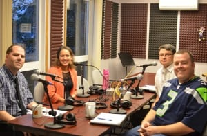 School Board candidates (L-R) Conan Steele, Misty Archibald, Matt Eisenhower and Matt Tibbles at KRBD.