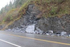 Rockslide at mile 4.5 South Tongass Hwy after cleanup.