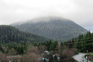 The top of Deer Mountain is hidden in clouds Friday morning. (Photo by Leila Kheiry)