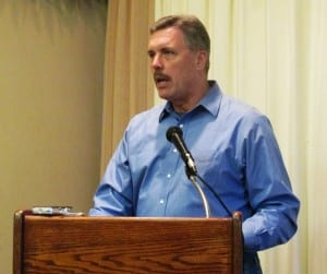 Tongass National Forest Supervisor Earl Stewart speaks at the Dec. 9 Chamber of Commerce lunch meeting.