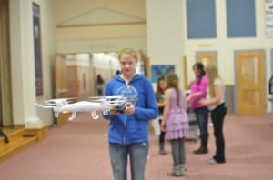 Hannah Moody flys a drone at Point Higgins Elementary on Friday January 22, 2016.
