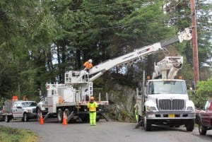 KPU Electric Division crews work on power lines Tuesday morning on Sunset Drive.