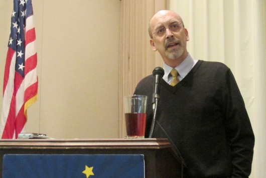 Borough Mayor David Landis speaks to the Ketchikan Chamber of Commerce. (Photo by Leila Kheiry)