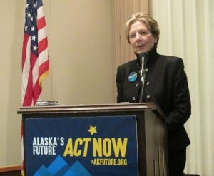 Judy Brady of Alaska's Future speaks during Wednesday's Ketchikan Chamber of Commerce lunch.