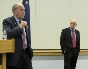 Gov. Bill Walker and Rep. Dan Ortiz heard input from Ketchikan residents during a town-hall meeting on Monday, Feb. 29. (Photo by Leila Kheiry)