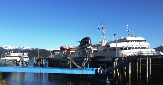 The ferries Matanuska, right, and Fairweather, left, tie up at Juneau's Auke Bay Ferry Terminal May 19, 2016. (Photo by Ed Schoenfeld/CoastAlaska News)