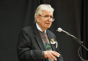 John Borbridge Jr. speaks at a 2011 Native American Heritage Month luncheon in Juneau. (Photo courtesy Tlingit Haida Central Council)
