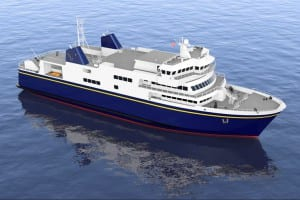 A conceptual drawing show what the Alaska Class ferries will look like. (Image courtesy state Department of Transportation)