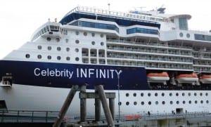The cruise ship Infinity hit Ketchikan's Berth 3 dock June 3rd. (Photo by Ed Schoenfeld)
