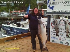 Misty Pattison holds up her 48.6 pound Chinook Salmon. Photo courtesy Ketchikan King Salmon Derby.