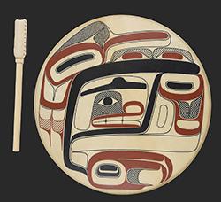 "David R. Boxley's painted drum, titled ""Txaamsem."" (SHI photo)"