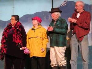The Fish Pirate's Daughter original cast members Pam Hjorteset, Gail Alguir, Jim Alguire and Bob Kinerk. (Photo by Leila Kheiry.