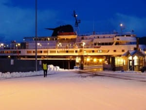 The ferry Taku docks at the Sitka terminal on a snowy morning Jan. 22, 2012. Budget cuts have sidelined the ship. (Ed Schoenfeld/CoastAlaska News)