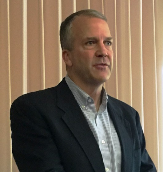 Sen Dan Sullivan, R-Alaska, speaks during a Ketchikan Chamber of Commerce lunch. (Photo by Leila Kheiry)