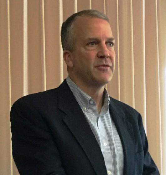 Sen Dan Sullivan, R-Alaska, speaks during a Ketchikan Chamber of Commerce lunch. (Photo by Leila Kheiry)