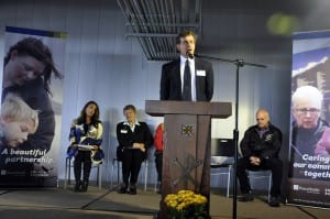 Ken Tonjes speaking at the ribbon cutting cermony for the hospital expansion. Photo courtesy of PHKMC.